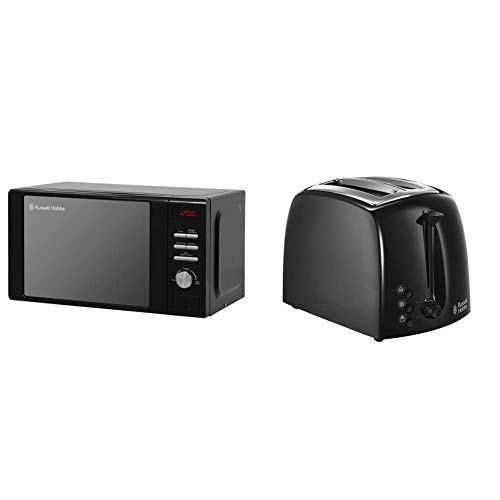 Russell Hobbs RHM2064B 20 Litre 800 W Black Digital Heritage Microwave with 5 Power Levels, Automatic Defrost, 8 Auto Cook Menus & 21641 Textures 2-Slice Toaster, 1000 W, Black