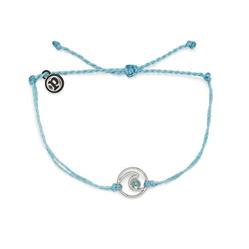 Pura Vida Silver Shimmering Wave Bracelet - 100% Waterproof, Adjustable Band - Plated Brand Charm, Crystal Blue
