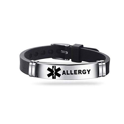 Pulsera identificativa de qianele de acero inoxidable y silicona, cómoda y ajustable, para hombres y mujeres, color negro Alergia.