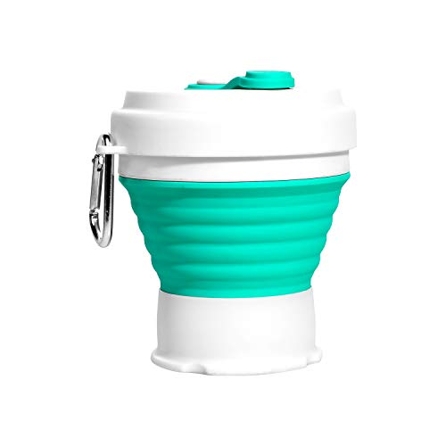 Collapsible Cup with Lids, Convenient Travel Coffee Mug Lightweight Food Grade Silicone & PP BPA-Free for Camping Hiking Outdoor Commuters (aqua)