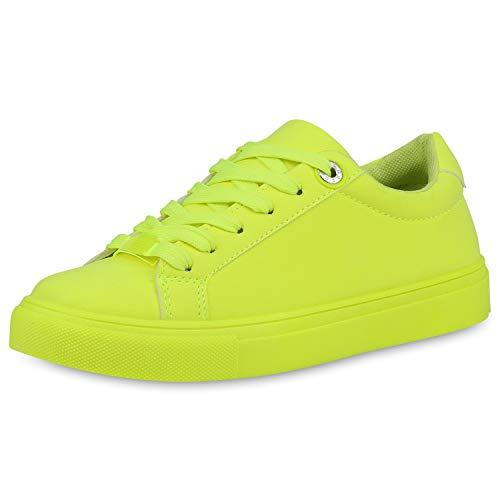 SCARPE VITA Damen Sneaker Low Freizeitschuhe Basic Leder-Optik Schuhe Flats Schnürer Turnschuhe 190557 Neon Gelb 37