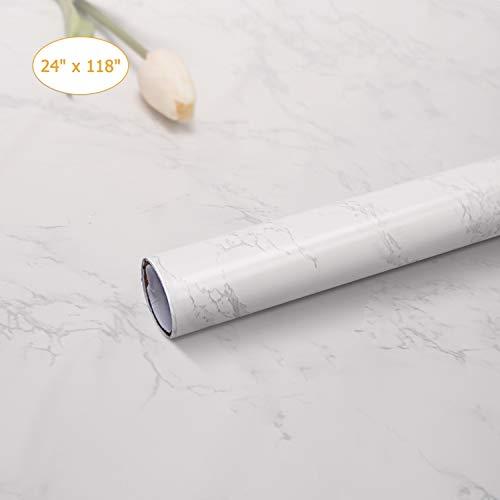 Rhodesy Papel Adhesivo Mármol para Muebles 61 x 300 cm, Durable Mate Película de Vinilo Impermeable Papel Pintado a Prueba de Aceite para Casa Oficina Cocina de Baño