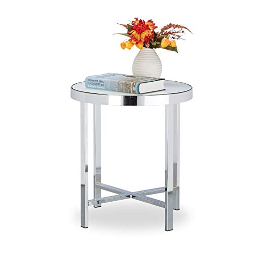 Relaxdays Coffee Table, Hardened, Frosted Glass, Couch Table, Side Table, Steel, HxWxD: 46 x 41 x 41 cm, Silver