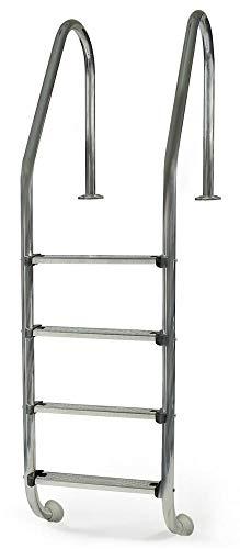 Gre 40272 - Escalera Standard de Acero Inoxidable para Piscina Enterrada, 183 cm