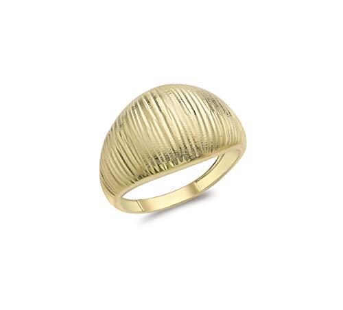 Carissima Gold Women's 9ct Yellow Gold Diamond Cut Dome Ring - Size P