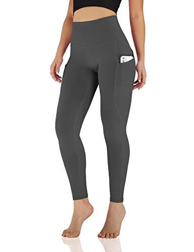 ODODOS Women's Out Pockets High Waisted Yoga Leggings, Workout Sports Running Athletic Leggings, Full-Length, Gray,Medium