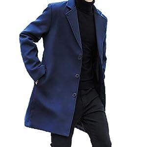 BLACK MOTEL コート メンズ チェスターコート ロング ジャケット 秋 冬 春 ウール 薄手 アウター ビジネス 紳士服 (ネイビー, XL(日本サイズL))
