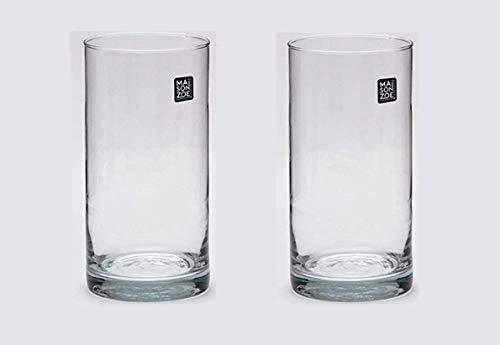 Maison Zoe Mundgeblasene und Handgefertigte Glasvase Zylinder Ø10cm - 2er Set - 20cm hoch - Blumenvase - Deko & Hochzeit