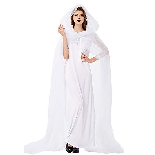 CGBF - Disfraz de novia fantasma para mujer, de capa blanca con capucha, disfraz de fiesta de Halloween, para adulto, blanco, talla única