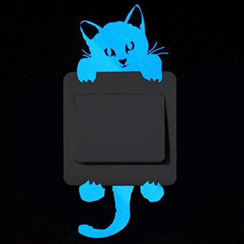 Hukz Leuchtsticker Kinderzimmer Wandaufkleber Wandsticker Nette Kreative Kätzchen Katze Glow Switch Wandtattoo Home Dekoration (A)