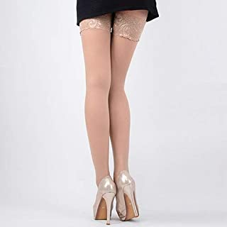YTCM12 Women's High Stockings Lace Top Silicon Strap Anti-Skid Thigh Nightclub Medias De Mujer Stockings Female Erotic (Color : Flesh)