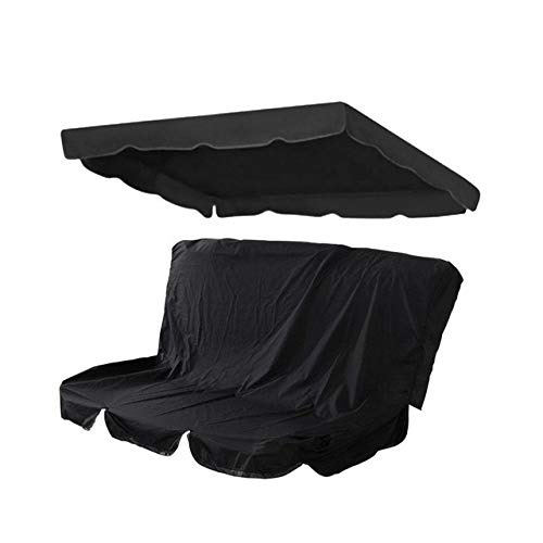 no-branded Tarp Tarpaulin Patio Swing Cover Set Swing Canopy Replacement Cover Waterproof Porch Top Cover for Outdoor Patio Yard Seat Waterproof Tarp MDYHJDHYQ (Color : Black, Size : 190x132x15cm)