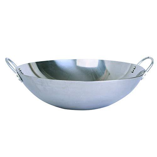 WRMIGN Sartén de hierro fundido para wok hecho a mano antiadherente antiadherente hierro olla C 55 cm