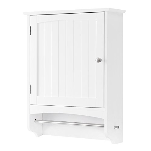 VASAGLE Wall Cabinet, Hanging Bathroom Storage Cabinet with Rod and Adjustable Shelf, -