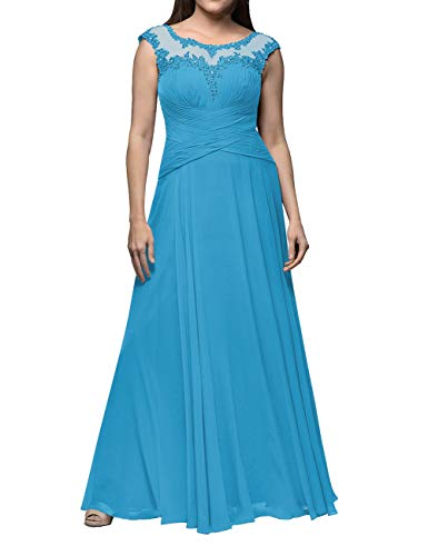Brautjungfernkleid Lang Chiffon Ballkleider Ärmellos Abendkleider Brautmutterkleider A-Linie Hochzeitskleid Festkleider Blau 32