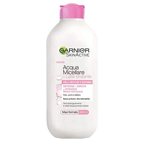 Garnier Acqua Micellare con Latte Detergente, Deterge, Idrata, Strucca, Senza Risciacquo, 400 ml, Confezione da 1