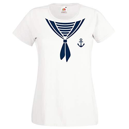 Shirt-Panda Damen T-Shirt · Matrosen Kostüm · wahlweise mit Mütze Karneval Gruppen Fasching Seefrau Verkleidung Party Matrosenmütze Darts Unisex Hut · Weiß (Druck Blau) S