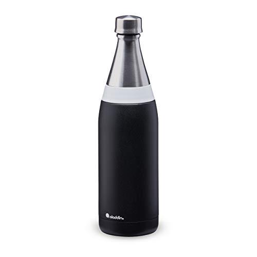 Aladdin Fresco Thermavac Stainless Steel Water Bottle 0.6L Lava Black - Auslaufsicher - Hält 10+ Stunden Kalt - BPA-Frei - Spülmaschinenfest - Mehrwegwasserflasche - Strapazierfähige Bearbeitung