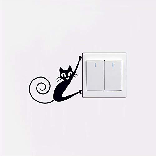 Lindo Pequeño Animal Gato Interruptor Etiqueta De La Pared Dormitorio Sala De Estar Interruptor Decoraciones Mural Decoración Del Hogar Calcomanías Pvc Pegatinas Papel Tapiz
