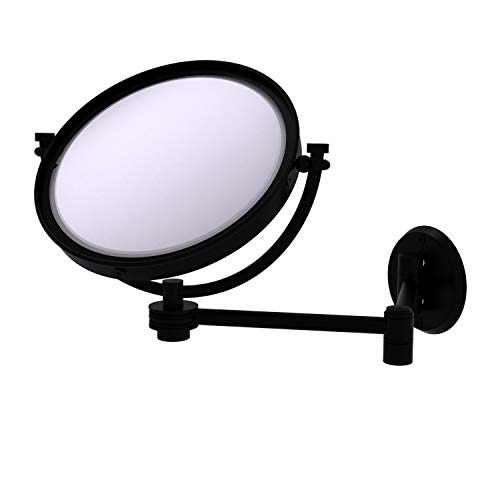 Allied Brass WM-6D/5X-BKM 8 Inch Wall Mounted Extending 5X Magnification with Dotted Accent Make-Up Mirror, Matte Black