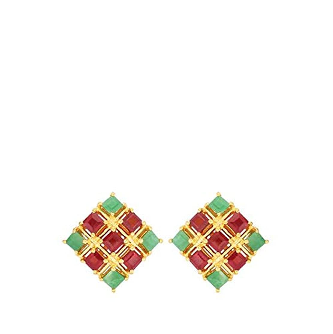 Emerald in Gold Plated Sterling Silver 925 Sterling Silver Ruby Earrings for Girls, Teens & Women