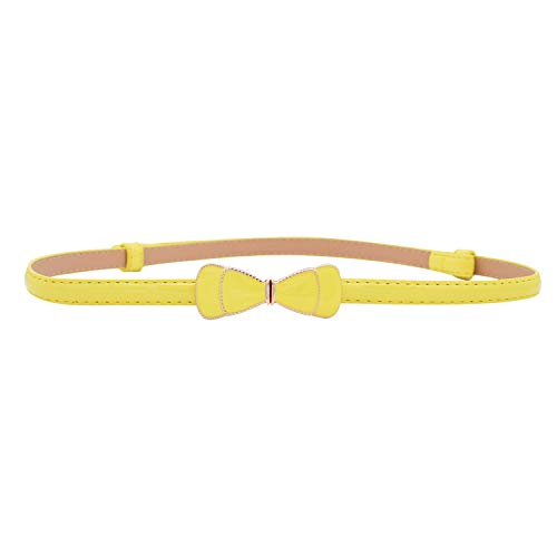 Women Slim Waist Belt with Cute Bowknot in Solid Colors (Yellow, L)