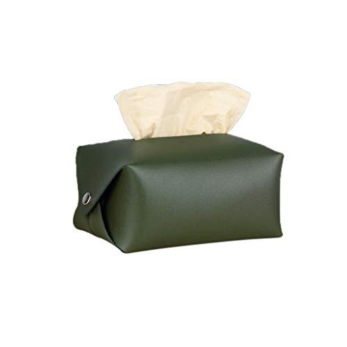 Viesky Caja de pañuelos para la cara de piel sintética con tapa de servilleta, organizador para toallas de papel, dispensador para la decoración del coche para la oficina en casa