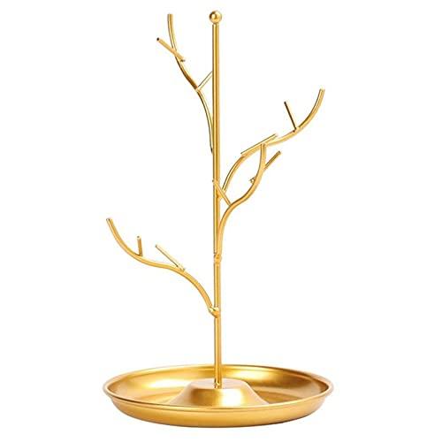 Bandeja de la joyería Mujer en forma de árbol Caja de joyería de la mesa Collares Pendientes Anillos Soporte de exhibición Bandeja de metal para las mujeres