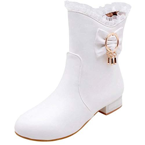 AicciAizzi Damen S¨¹ss Bogen Niedrige Absatz Kurzschaft Stiefel Flach Schule Spitze Lolita Herbst Shoes White Size 41 Asian