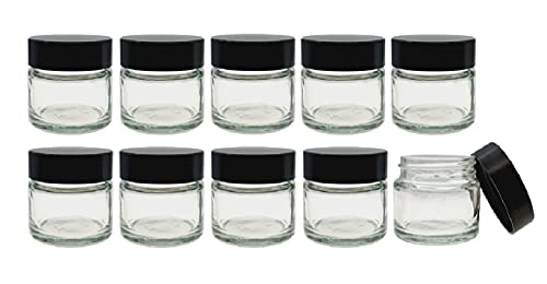 10 x Petit 15ml Transparent Pots De Verre/Pots avec noir Urée Visse Capsules Convient à Baumes Pour Les Lèvres, Plantes, épices, Facecream, Onguents & Bougie