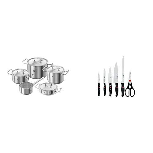 Zwilling Twin Classic Batería de cocina, 5 piezas, Acero inoxidable, Apto para todo tipo de cocinas, incluída inducción + TWIN POLLUX Set de 5 cuchillos y tijera doméstica multiusos, color negro
