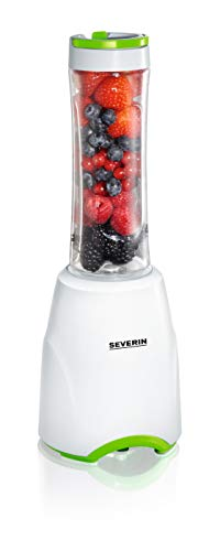 SEVERIN SM 3735 Batidora Smoothie Mix & Go, 300 W aproximadamente, 600 ml, incluso 2 vasos con tapa, color blanco y verde