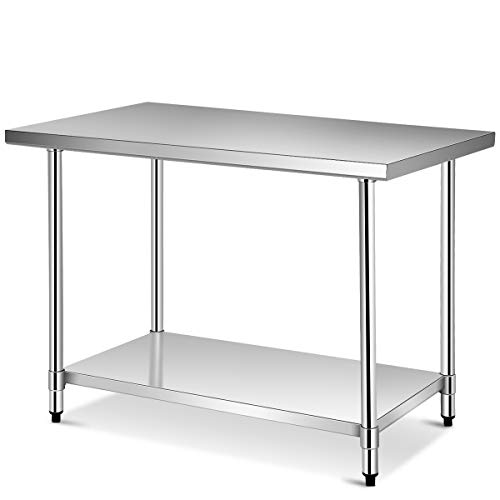 Giantex 48 x 30 Inches NSF Stainless Steel Food Prep Table, Heavy Duty Commercial Kitchen Metal Table with Adjustable Lower Shelf and Plastic Feet, Steel Work Prep Table for Restaurant Home