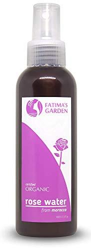 Eau de Rose bio par Fatima's Garden certifiée 100% Bio ECOCERT et USDA organique, tonifiant bio pour visage, corps et cheveux - hydratant Végan sans cruauté- 100ml