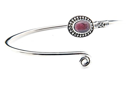 Granat Armreif 925 Silber Sterlingsilber Armband Armspange rot (MAR 01-02)