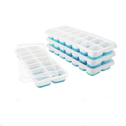 Towinle 4 Bandejas Hielo Grande con Tapa - Silicona Alimentaria Flexible/Cubo Enorme 4 * 3cm - 56 Huecos Color Verde (Azul)