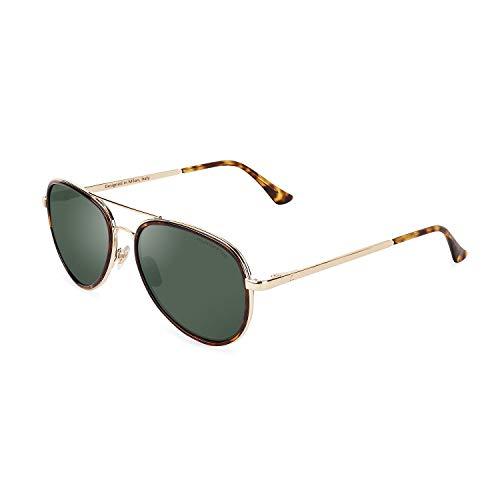 CLANDESTINE A15 Gold Habana Dark Green - Gafas de sol Nylon HD Hombre & Mujer