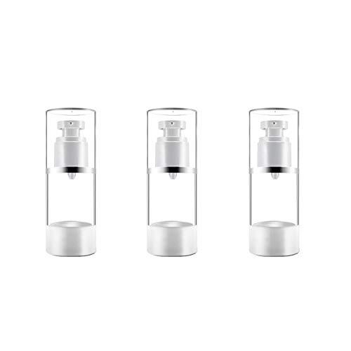 3 Nachfüllbare Airless-Pumpflaschen, Leerer Behälter für Vakuumcreme/Lotionspender, Flüssigkosmetik Sprühglas Toilettenartikelflaschen für Make-up Stiftungen Travel (15ml, 0.5 oz), BPA-frei