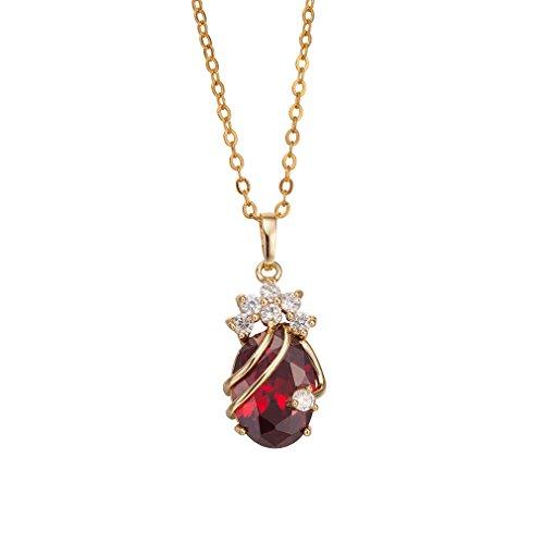 YAZILIND 18 Chapado en Oro de Cristal Hermoso Rojo Colgante de Cristal Collar Solitaire