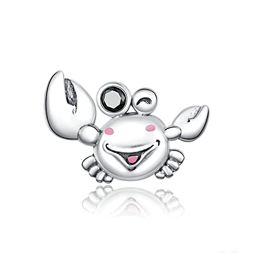 DIY S925 Plata Esterlina Little Crab Ocean Biological Dog Cat Charms Beads Fit Original Pandora Pulsera con Cuentas Collar DIY Mujer Fabricación De Joyas