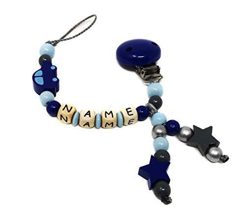 Elfenstall Schnullerkette mit Namen vom Baby - Namensschnullerkette (Auto blau)