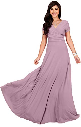 KOH KOH Womens Long Cap Short Sleeve V-Neck Flowy Cocktail Slimming Summer Sexy Casual Formal Sun Sundress Work Cute Gown Gowns Maxi Dress Dresses, Dusty Pink M 8-10