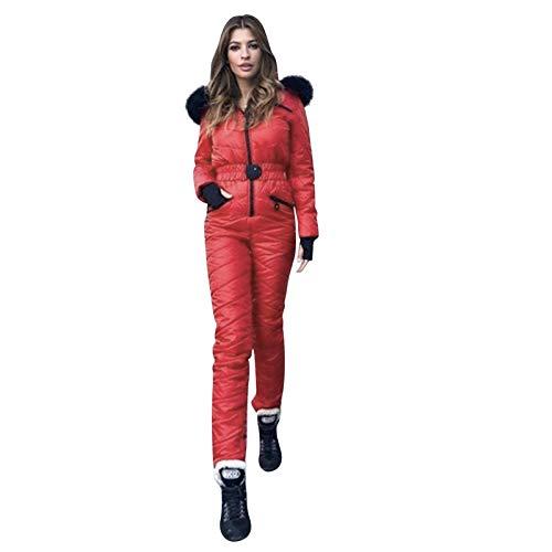 Mono de nieve para mujer moderno, cálido y grueso, para hacer snowboard - Traje de esquí y otros deportes al aire libre, con cremallera, hot pink, M
