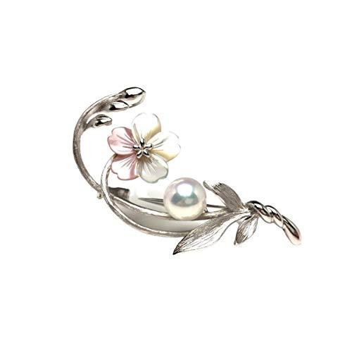 Isowa Pearl(伊勢志摩の真珠専門店 イソワパール) アコヤ真珠 ブローチ 9.05mm ホワイトピンク シルバー シェル 植物 フラワー 68005