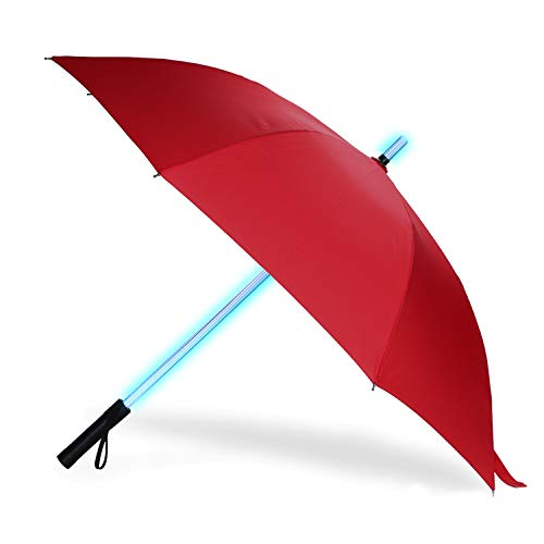 BESTKEE Lightsaber Umbrella - LED Laser Sword Light up Golf Umbrellas with 7 Color Changing On The Shaft/Built in Torch at Bottom (Red)