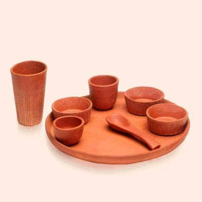 Buvika - Juego de vajilla (8 unidades), color terracota