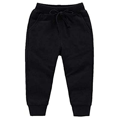 HAXICO Unisex Kids Solid Cotton Drawstring Waist Winter Pants Toddler Baby Bottoms Active Sweatpants Black, 90cm(2T)