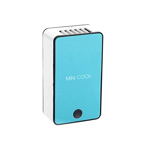 LIANGANAN USB Fan, Mini Novedad en Forma de teléfono Desarrollado Aire Acondicionado Ventilador USB con Soporte de Mano (Azul)