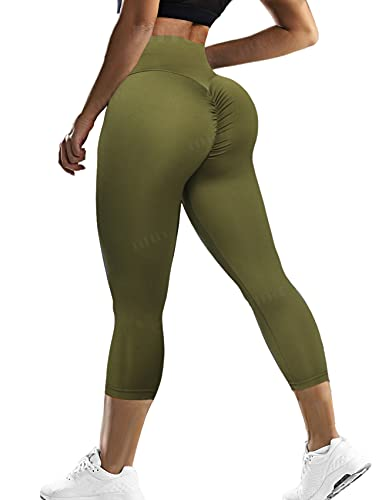 FITTOO Butt Lift Capri for Women Scrunch Cute Booty Workout Lounge Leggings High Waisted Gym Yoga Pants for Summer Clothes Army Green Medium