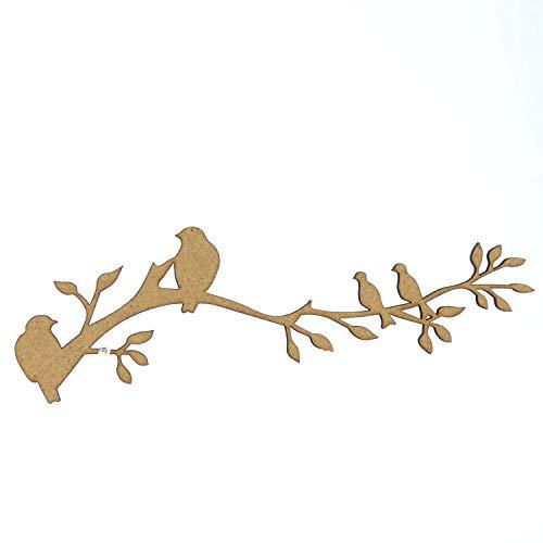 MDF houten boomtak met vogels voor het knutselen, familie, bruiloften, blank, geschenk, ambacht, decoreren (150mm (15cm))